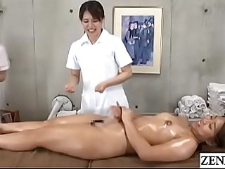 Japanese women only rub-down clinic new document instructed by adherent masseuse give lick and animate wet vagina be expeditious for stark naked client with English subtitles