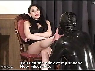 Licking the japanese mistress's legs and a happy slave